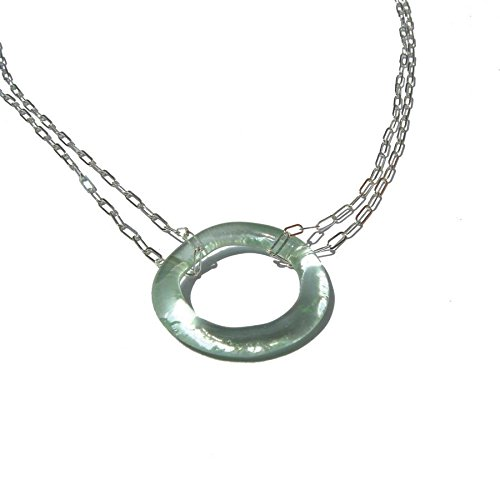 Recycled Glass Coca-Cola Small Double Necklace with Double Sterling Chain ()
