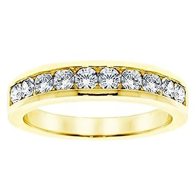 1.00 CT TW Channel Set Round Diamond Anniversary Wedding Ring in Yellow Gold
