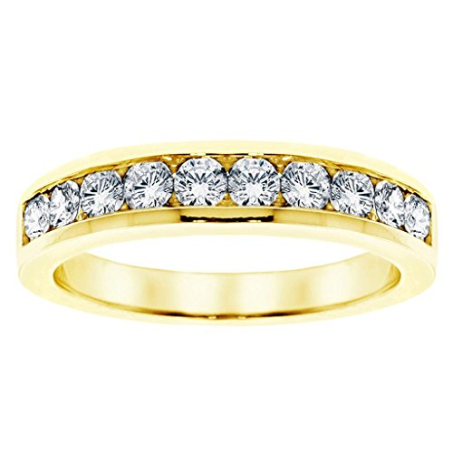 1.00 CT TW Channel Set Round Diamond Anniversary Wedding Ring in Yellow Gold - Size 6 (Channel Tw Set)