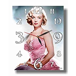 ART TIME PRODUCTION Marilyn Monroe 16'' x 11 Handmade Reverse (Back Stroke) Wall Clock - Get Unique décor for Home or Office – Best Gift Ideas for Kids, Friends, Parents and Your Soul Mates