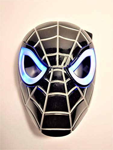 Premium Black Spiderman Mask / Venom Face Mask with LED Eyes That Light Up! (Batteries Included) -