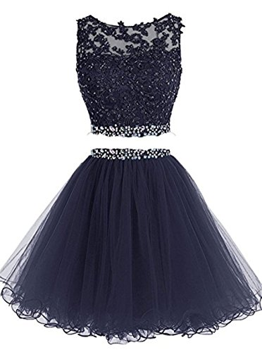 (Henglizh Fashion Beading Applique Party Dress Two Piece Lace Keyhole Back Crop Top Dress Navy Blue,US8)