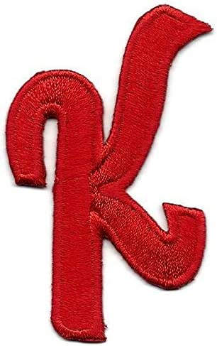 "Iron On Embroidered Applique SCRIPT LETTERS Red Script 2/"" Letter /""K/"""