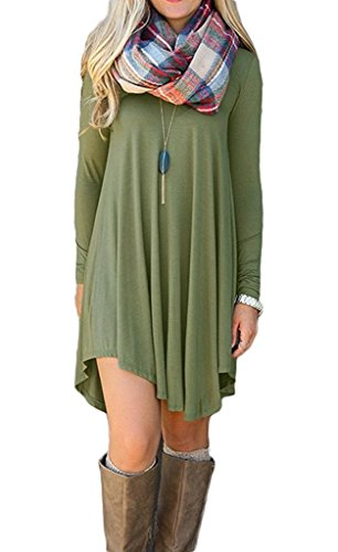 Setenow Women's Long Sleeve V-Neck Casual Loose Tunic T-Shirt Dress Army Green M