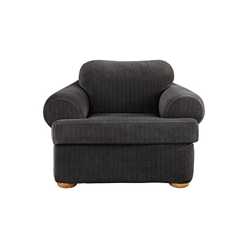 [Sure Fit Stretch Pinstripe 2-Piece - Chair Slipcover  - Black (SF39063)] (Pinstripe Spandex Skirt)