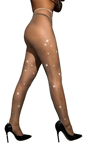 - Rhinestone Fishnet Stockings Sparkle Tights Crystals High Waist Diamond Glitter Pantyhose DORALLURE
