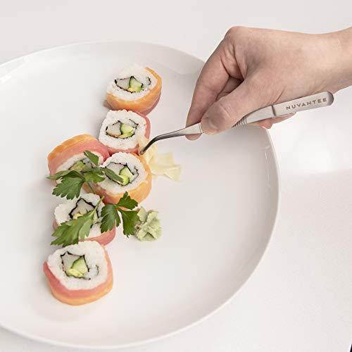 Nuvantee Plating Tools - 8 Piece Precision Tongs Set - Culinary Plating Kit - Silver