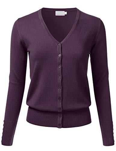 FLORIA Women's Button Down V-Neck Long Sleeve Soft Knit Cardigan Sweater Darkpurple S