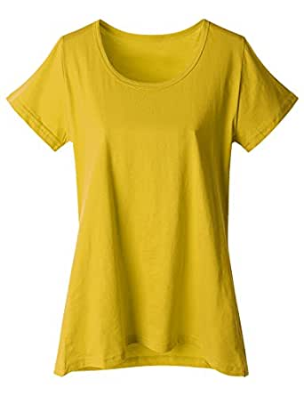 Doublju Women Casual Solid Color Cap Sleeve Plus Size T-Shirt MUSTARD,XL