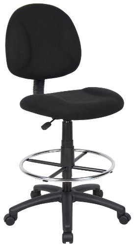Boss Office Products B1615-BK Ergonomic Works Drafting Chair without Arms in Black (Adjustment Fabric Height Back)