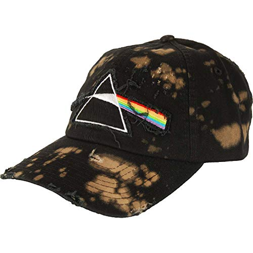 (Pink Floyd The Dark Side of The Moon Bleached Distressed Dad Hat Black)