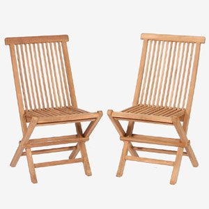 TEAK Armless Folding Chairs. (Teak) Will Fold Flat For Easy Compact Storage.