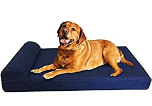 dogbed4less HeadRest Orthopedic Memory Foam Dog Bed with Waterproof Internal Case and Washable External Cover, 47 X 29 Inch (Denim in Navy Blue)