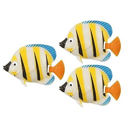 eDealMax 3-piezas de plástico acuario de peces de cola simulado contoneantes Conjunto, Amarillo