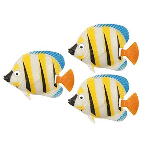 Amazon.com: eDealMax 3-piezas de plástico acuario de peces de cola simulado contoneantes Conjunto, Amarillo: Pet Supplies