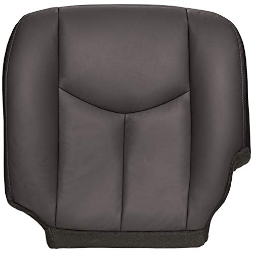 The Seat Shop Driver Bottom Replacement Seat Cover - Very Dark Pewter (Dark Gray) Leather (Compatible with 2003-2006 Chevrolet Silverado and GMC Sierra)