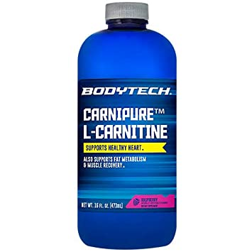 BodyTech Carnipure LCarnitine 1100 MG, Raspberry Supports Healthy Heart, Fat Metabolism Recovery 16 Fluid Ounce