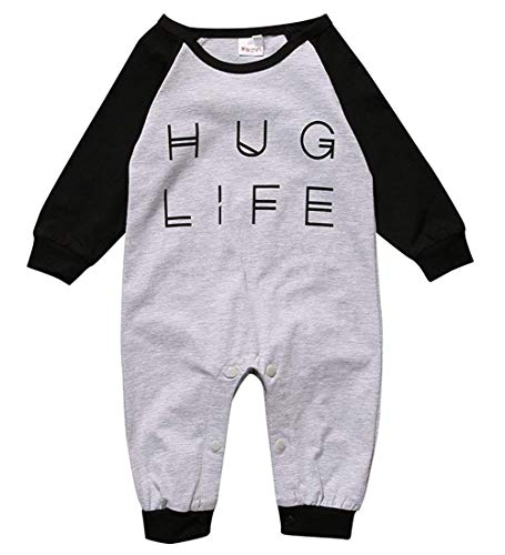 Baby Boy Girl Romper Letter Print Jumpsuit Playsuit Outfits One Piece