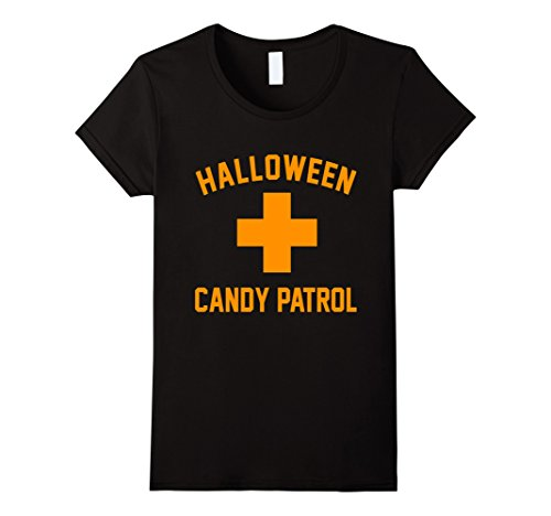 Swimming Costume For Ladies Amazon (Womens Halloween Candy Patrol Inspector Swimming Pool Cross T Shirt Large Black)