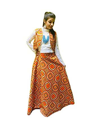 697f6e22bd Pj'S Boutiues Brocade Fabric Women Printed Long Skirt & Crop Top With  Atteched Jacket 3 Pc Dress (Skirt), Color : Yellow And White: Amazon.in:  Clothing & ...