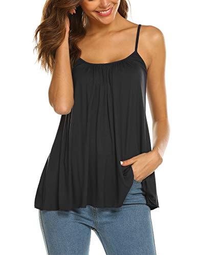 SUNAELIA Women's Flowy Tank Tops Summer Sleeveless Casual Camisole Plus Size Cami Basic Tank Top Shirts Black