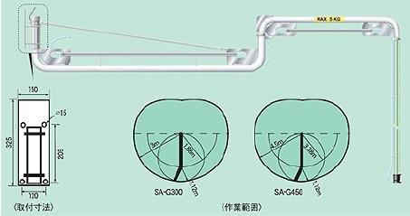 ヤマダ スイングアームホースユニット SA-G450 (V810030) B01LXIS6AQ