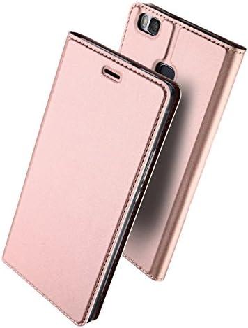 Huawei P9 Lite 手帳型 ケース uovon 軽量 P9lite PREMIUM ポケット カード収納あり マグネット スタンド機能付き 高級 PU レザー+TPU素材 全面保護カバー (Huawei P9 Lite, ローズゴールド)