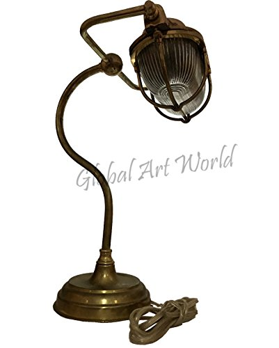 Global Art World Vintage Style Antiquated Heavy Brass Ship's Captain Cabin Table / Desk Lamp Nautical Marine Decor Electrical Lamps And Lightining Amazing Home Decor ML -