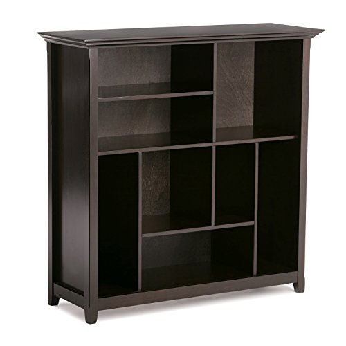 Simpli Home INT-AXCAMH-CCUB-DAB Amherst Solid Wood 44 inch x 44 inch Transitional Multi Cube Bookcase and Storage Unit in Dark Brown