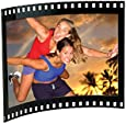 "Black Acrylic Photo Frame with Film Strip Design on Sides, Holds 6"" x 4"" Photos"
