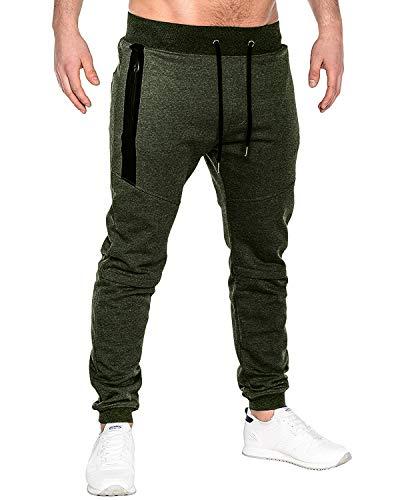 MODCHOK Men's Jogger Sweatpants Fleece Pants Workout Trousers Slim Fit Tracksuit C-Army Green L ()