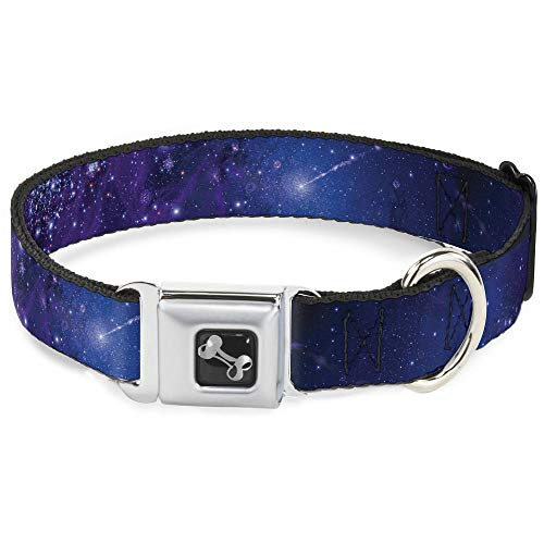 """Buckle Down Seatbelt Buckle Dog Collar - Galaxy Blues/Purples - 1"""" Wide - Fits 15-26"""" Neck - Large"""