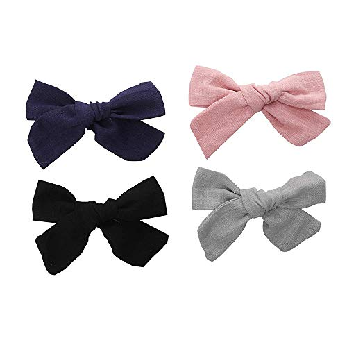 4 inches Bows For Girls Linen Fabric Hair Clips For Kids Toddlers Teens Children Gifts (Black hair -