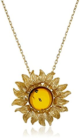 Gold Plated Sterling Silver Honey Amber Sunflower Pendant Necklace (Unique Amber Pendant For Women)