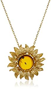 Gold Plated Sterling Silver Honey Amber  Sunflower Pendant Necklace