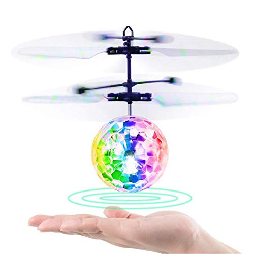 LTSnake Mini Flying Ball, Kids Flying Toys RC Flying Ball Toy Helicopter Drone Infrared Induction Built-in Colorful Shinning LED Light Gifts for Boys Girls Teenagers