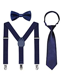 Kids Suspender Bowtie Necktie Sets - Adjustable Elastic Classic Susoender Sets for 6 Months to 13 Year Old Boys & Girls (Navy blue, 26 Inches (Fit 6 Months to 6Years))