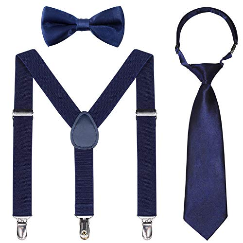 Kids Suspender Bowtie Necktie Sets - Adjustable Elastic Classic Accessory Sets for 6 Months to 13 Year Old Boys & Girls (Navy blue, 26 Inches (Fit 6 Months to 6Years))