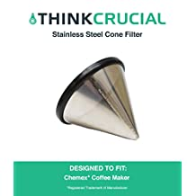 Washable & Reusable Stainless Steel Cone Coffee Filter Fits Chemex® 6, 8 & 10 Cup Coffee Makers, Designed & Engineered by Crucial Coffee
