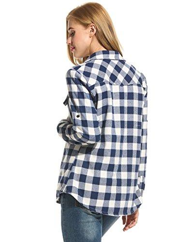 Classica Camicia Fidanzato Elegante Vitalità Donna Stile Cooshional Manica Libero Lunga Scuro Stampa Blu 8HwUUqC