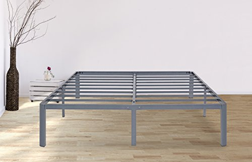 PrimaSleep 14 Inch PT-2000 Simple And Sturdy Steel Slat Round Edge NON-SLIP Metal Bed Frame, 14'' H, King,  Gray ()