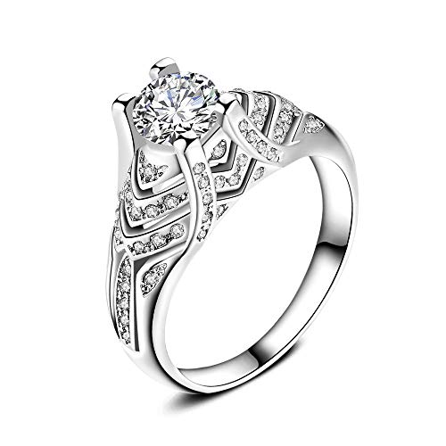 Sunyastor Cubic Zirconia Ring Engagement Wedding Rings Silver White Rings Platinum-Plated Sparkling Rings for Women Jewelry