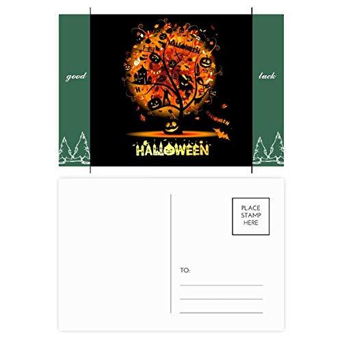 Halloween Cartoon Tree Pattern Good Luck Postcard Set Card Mailing Side 20pcs -