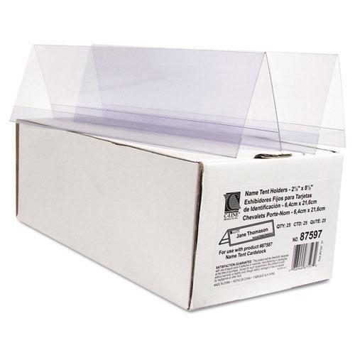 (C-Cline 87597 Tent Card Holder, 2 1/2 x 8 1/2, Clear, 25/Box)