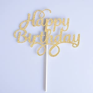2 Pack Gold and Silver Happy Birthday Cake Topper Glitter Party Event Decorations