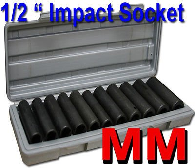 "12pcs 1/2"" Deep Impact Socket Set MM Mold Case Tools Shop Hand Tools HD"