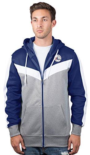 Philadelphia 76ers Men's Full Zip Hoodie Sweatshirt Jacket Back Cut, Large, Royal ()