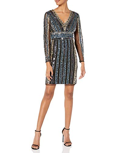 Adrianna Papell Women's Stripe Bead Sheath Dress, Black Multi, 10 from Adrianna Papell