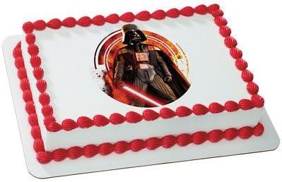 "DARTH VADER PERSONALISED CAKE TOPPER 8/"" CIRCLE WAFER PAPER//ICING SHEET"