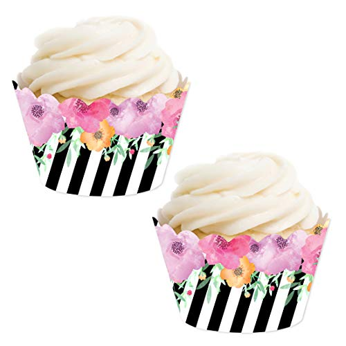 Andaz Press Party Cupcake Wrapper Decorations, Pink Floral Flowers with Black and White Stripes, 24-Pack, for Girls 1st Birthday Baby Bridal Shower Tea Party Themed Decorations